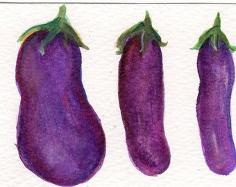 ACEO original Eggplants watercolor painting, Art card, Aubergine art, small vegetables painting