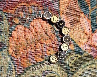 Vintage typewriter key bracelet Luv my dog
