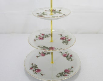 Vintage 3 Tier Cake Stand, Pink Rose Pattern, Tea Party, Shower, Wedding Table