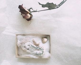 Sleeping fox brooch with wings. Keepsake, treasures of the heart, vintage style. Weddinggifts, special occasions.