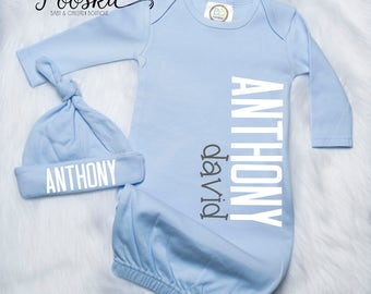 Custom Infant Gown, Coming Home Outfit, Boy Hospital Take Home Outfit, Baby Boy Clothing, Baby Boy Name Gown, Blue Custom Gown, Boy Gift P53