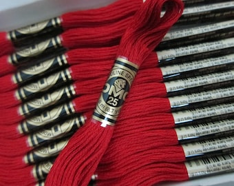 817, Very Dark Coral Red, DMC Cotton Embroidery Floss - 8m Skeins - Available in Full (12-skein) Boxes - Get Up To 50% OFF Buying Bulk