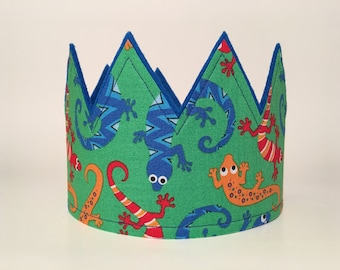 Gecko Birthday Crown, Lizard Party Hat, Boys Birthday Crowns, Lizard Party Hat, First Smash Cake Crown Boys Photo Shoot Prop Party Accessory