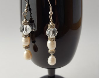 16004E Freshwater Pearl and Czech Crystal Earrings