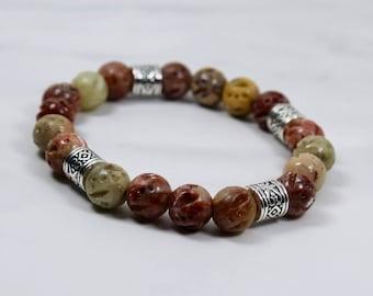 Custom Mothers Day Raw Stone Soapstone Beaded Bracelet