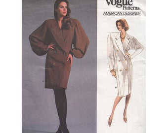 Vintage 80s Double Breasted Dress with Wide Lapel & Feature Sleeves UNCUT Vogue American Designer Sewing Pattern 1937 Perry Ellis Bust 32.5