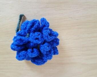 Blue hydrangea knitted brooch