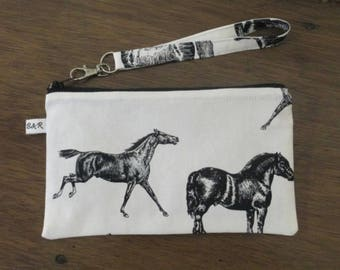 Horses Wristlet Clutch Purse, Zipper Pouch, Ready to Ship