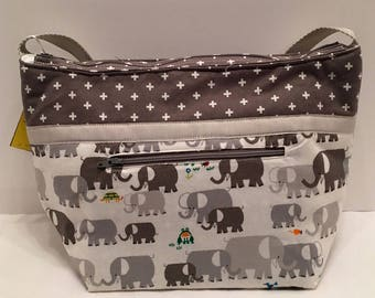 "LIP19- Lunch Bag: ""Jumbo Lunch"" washable insulated lunch bag with zippered front pocket and zippered top closure."