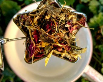 The Crystal Ship Tea and Tub Blend-Organic Loose Leaf Relax Flower Herbal Bathtime Tea Time Gift Relaxation
