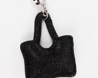 Mini Bag Keyring- Jet Black