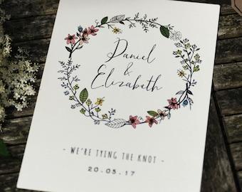 Spring Flora & Fauna Hand Drawn Wedding Invites + Information Card