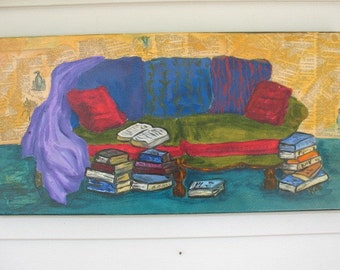 Original painting/collage -  Booklovers Sofa - 12 x 24 inches by Kate Ladd