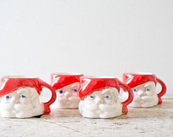 Vintage Santa Mugs Santa Mug Lot Set of Three - Christmas Ceramic Mug Retro Kitschy Santa Claus Mug