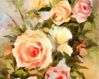 Roses1,Giclee Print on Canvas,Still Life Painting,Wall Art Prints,Floral Painting,Home Wall Decor,