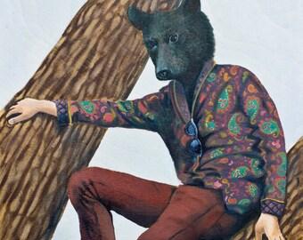 Black Bear // Art Print // Spirit Animals // Animal Human Hybrids // 8 x 10 Digital Print of Original Oil Painting // Animal Art