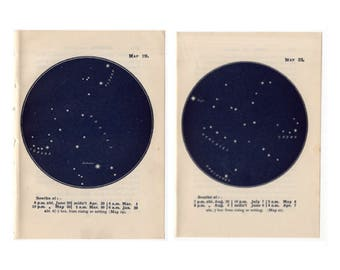 c. 1948 CONSTELLATION STAR PRINTS - vintage constellation star maps - star chart astronomy lithographs - no. 19 & 21 - set of 2 prints