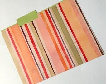 Decorative File Folder, Peach and Green Stripped Folder, Cute File Folder, Desk Accessory, File Organizer  PSS 3598