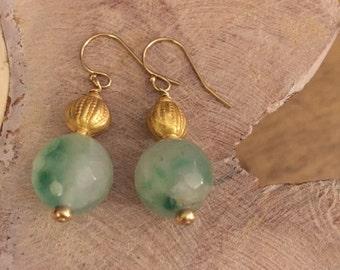 Jade and German Gold Earrings