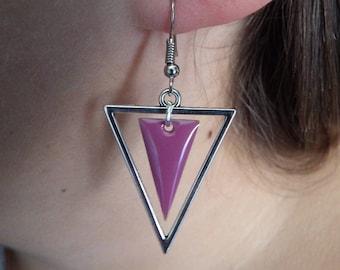 Triangle and sequin purple enamel earrings