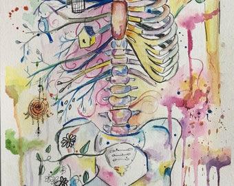 A Skeleton of Life Print
