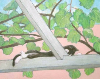 ORIGINAL Cat with Grape Vine Painting by KAZUMI 14 x 11 inches