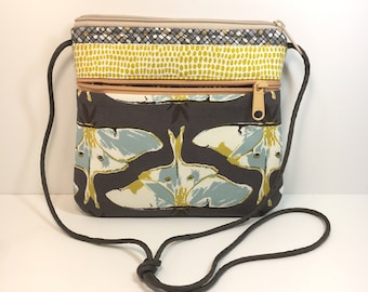 Small Cross Body~blue and gold~Small Crossbody~Bags & Purses~Small Shoulder Bag~Go AnyWhere Bag~Small Hipster~Handmade~Fabric Bag