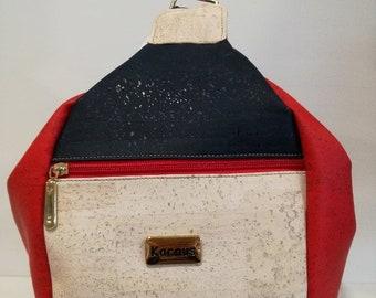 Natural Cork Purse in White & Red - Fine Cork Bag - Women Cork Handbag - Gift for Her