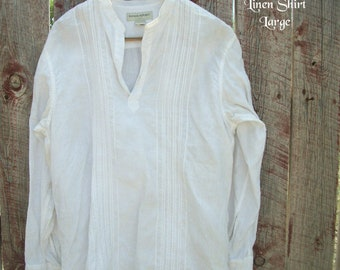 White Linen Large Shirt-Men Beach Wedding Shirt-Large Beach Shirt-Banana Republic-Mandarin collar-Casual Elegance-Pull Over Unisex Shirt