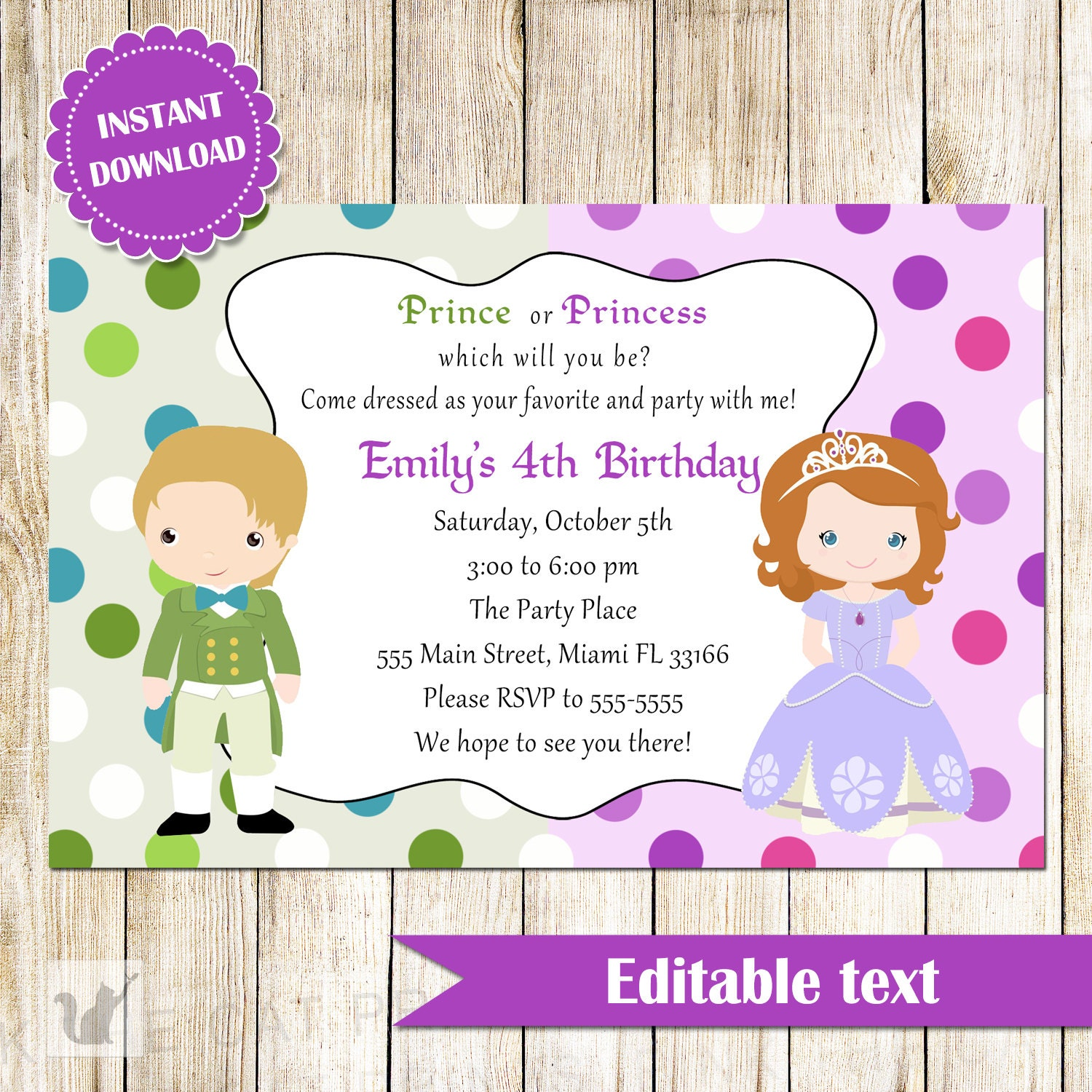 Prince and Princess Invitation Green Purple Printable Kids