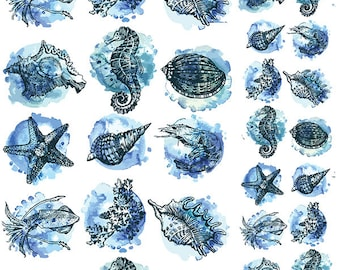 Blue Sealife - Ceramic Waterslide Decal - Enamel Decal - Fusible Decal - 76900MW