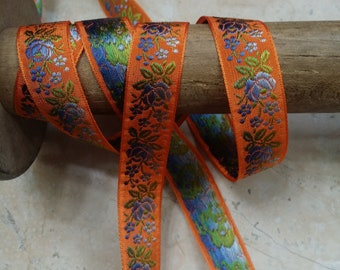 """3/4"""" Vintage FrenchVibrant Orange woven ribbon trim with embroidered blue ombre florals and sweet green leaves #500"""