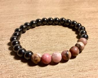 Hematite & Rhodonite Bracelet Circulation Bracelet