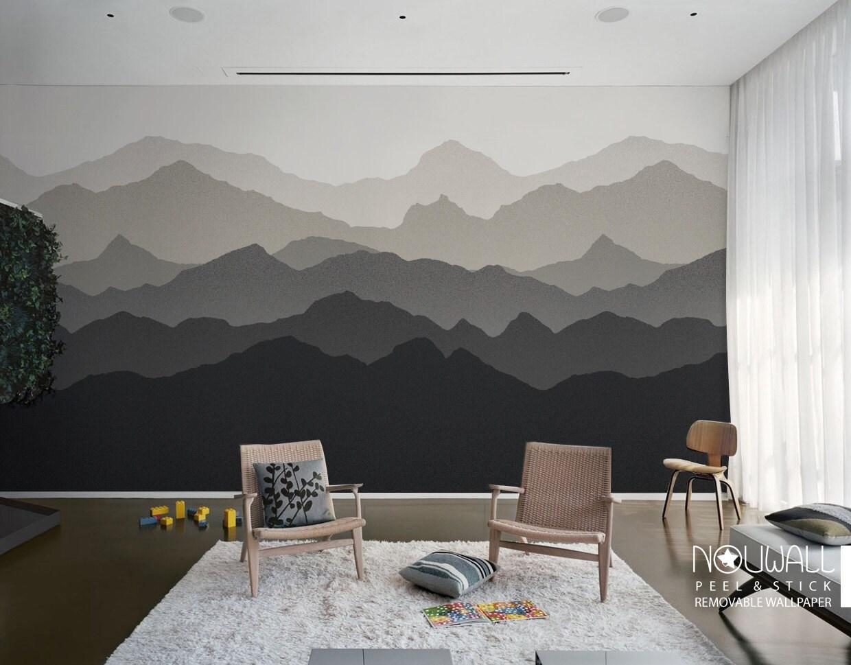 Gradient Mountain Scenery Peel And Stick Wallpaper
