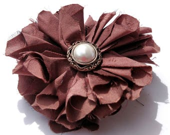 Recycled Vintage Silk Necktie Fabric Flower Clip Pin - Mauve