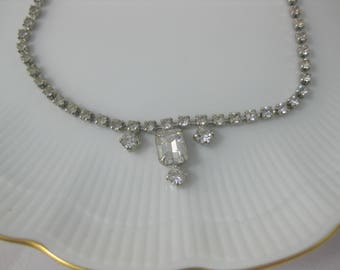 Rhinestone Chocker, Vintage Rhinestone Necklace, Sparkle Necklace