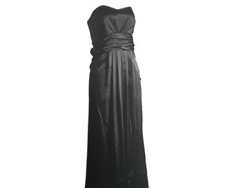 Long Dress, Strapless Dress, Size 10, Black Strapless Dress, Party Dress, Long Black Dress, Gift for Her, Evening Dress, Black Dress