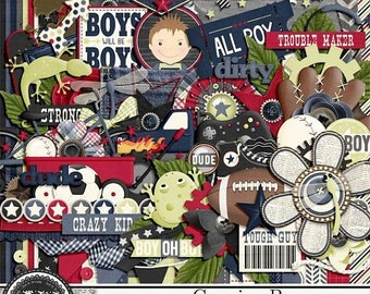 On Sale 50% Genuine Boy 12x12 Digital Scrapbook Kit, Masculine
