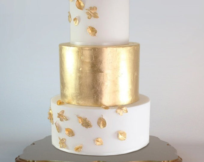 Gold platform wedding cake stand