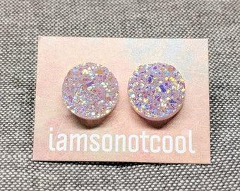 Druzy Stud Earrings / Sparkle Glitter Post Earrings / 12mm Stainless Steel / Faux Druzy Studs / Gifts for Her / Nickel Free