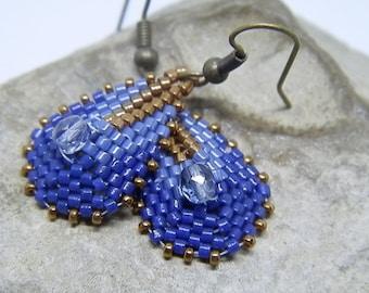Weaving needle blue and bronze earrings