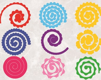 9 Rolled Paper Flowers | Svg Cut Files | 300 PPI