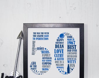 Framed 50th Birthday Gift - 50th birthday, 50th birthday gift, personalized birthday print, unique 50th birthday, 50th birthday for him
