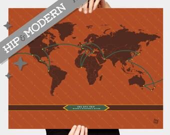 Perfect custom map etsy hip custom personalized travel map arrowed copper modern minimalist art print gumiabroncs Choice Image
