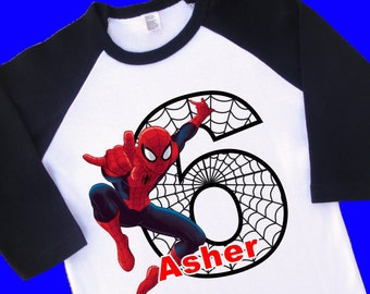 Spiderman Birthday Shirt. Personalized Raglan with Name & Age. [Superman, Batman, Captain America, Green Lantern, Iron Man, Hulk] (35053)