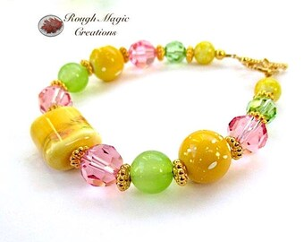 Colorful Spring Bracelet, Easter Jewelry for Women, Yellow Floral Porcelain, Green Gemstone, Pink Swarovski Crystal, Gold Toggle Clasp B246