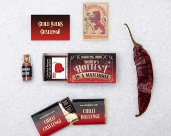Carolina Reaper & Chilli Chocolate In A Matchbox, Gift for Him, Valentine Gift, Boyfriend Gift, Gifts For Men, Gifts For Dad, Husband Gift