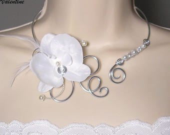 Wedding necklace white Orchid - Collection ladies - Valentine necklace - wedding necklace, wedding jewelry Bridal