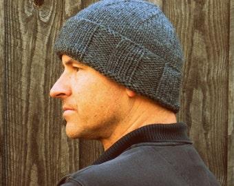 Knit hat mens - gray wool hat