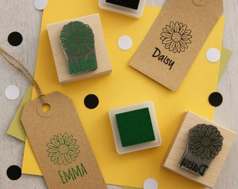 Personalised Children's Daisy Flower Rubber Stamp - Personalized Mothers Day - Custom Stamper - Flower Gift - Floral Stamp - Gift for Girls